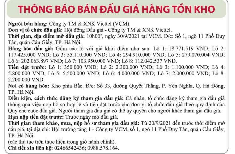 Ngày 30/09/2021, đấu giá hàng tồn kho tại Hà Nội ảnh 1