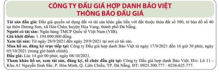 Ngày 8/10/2021, đấu giá quyền sử dụng đất tại huyện Hòa Vang, thành phố Đà Nẵng ảnh 1