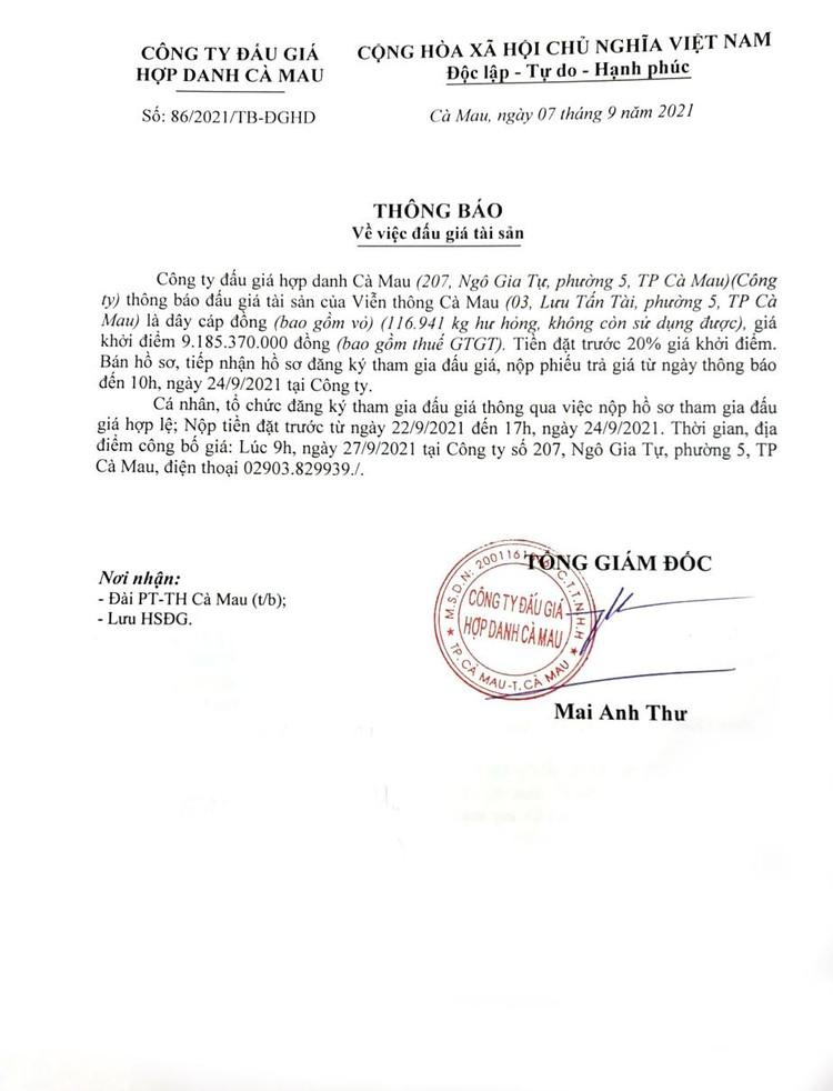 Ngày 27/9/2021, đấu giá 116.941kg dây cáp đồng tại tỉnh Cà Mau ảnh 2