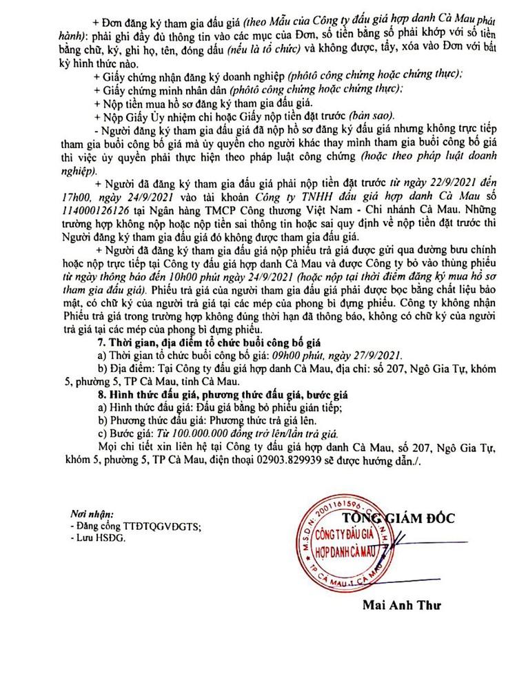 Ngày 27/9/2021, đấu giá 116.941kg dây cáp đồng tại tỉnh Cà Mau ảnh 4
