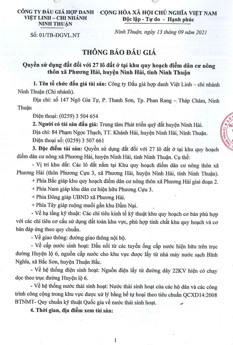 Ngày 2/10/2021, đấu giá quyền sử dụng 27 lô đất tại huyện Ninh Hải, tỉnh Ninh Thuận ảnh 2