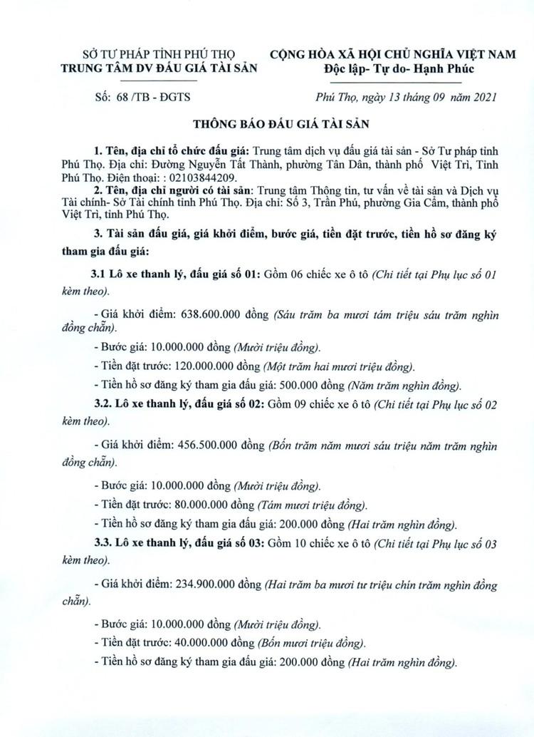Ngày 25/9/2021, đấu giá 3 lô xe ô tô thanh lý tại tỉnh Phú Thọ ảnh 2