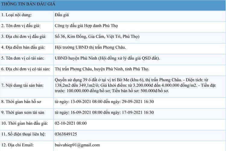 Ngày 2/10/2021, đấu giá quyền sử dụng 39 ô đất tại huyện Phù Ninh, tỉnh Phú Thọ ảnh 1