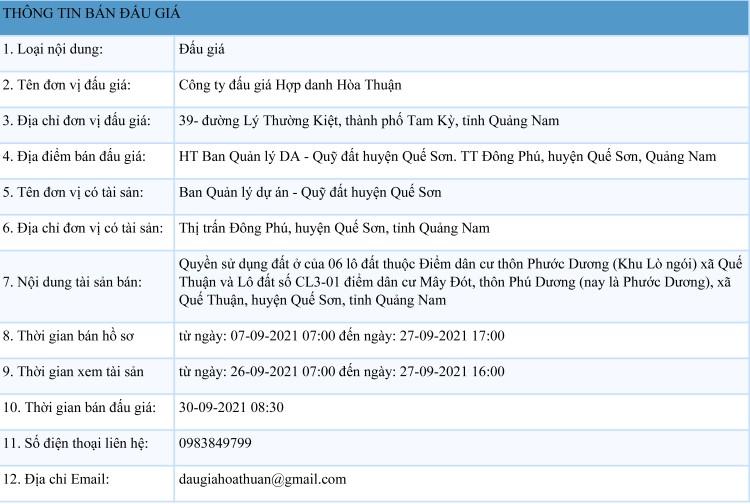 Ngày 30/9/2021, đấu giá quyền sử dụng 6 lô đất tại huyện Quế Sơn, tỉnh Quảng Nam ảnh 1