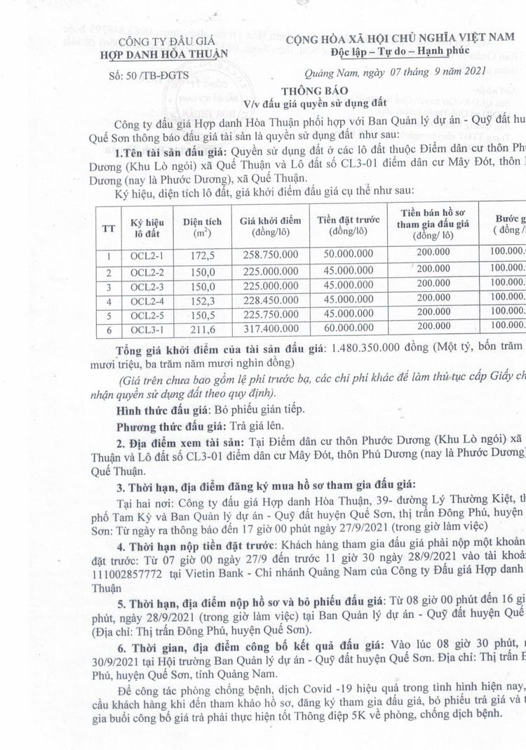 Ngày 30/9/2021, đấu giá quyền sử dụng 6 lô đất tại huyện Quế Sơn, tỉnh Quảng Nam ảnh 2