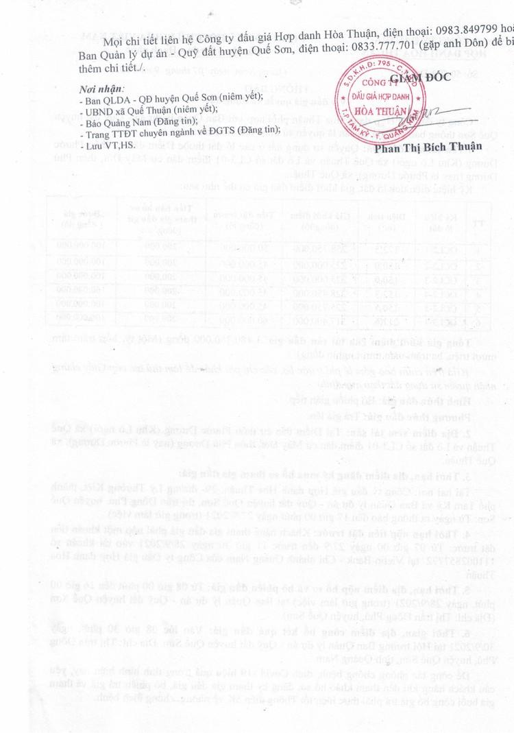 Ngày 30/9/2021, đấu giá quyền sử dụng 6 lô đất tại huyện Quế Sơn, tỉnh Quảng Nam ảnh 3