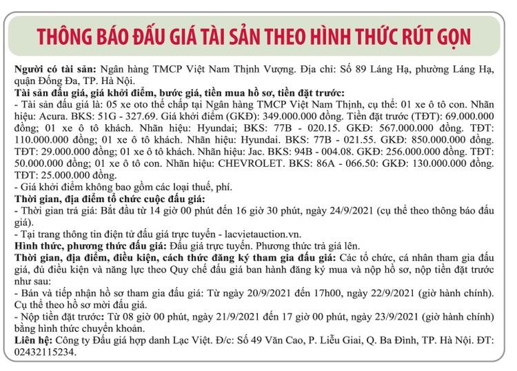 Ngày 24/9/2021, đấu giá 5 xe ô tô tại Hà Nội ảnh 1