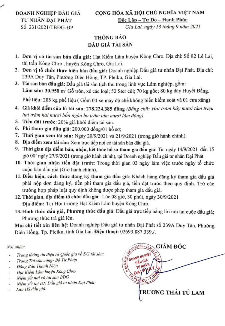 Ngày 30/9/2021, đấu giá tài sản tịch thu trong lĩnh vực lâm nghiệp tại tỉnh Gia Lai ảnh 2