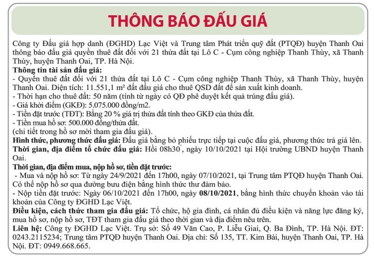 Ngày 10/10/2021, đấu giá quyền sử dụng thuê đất tại huyện Thanh Oai, Hà Nội ảnh 1