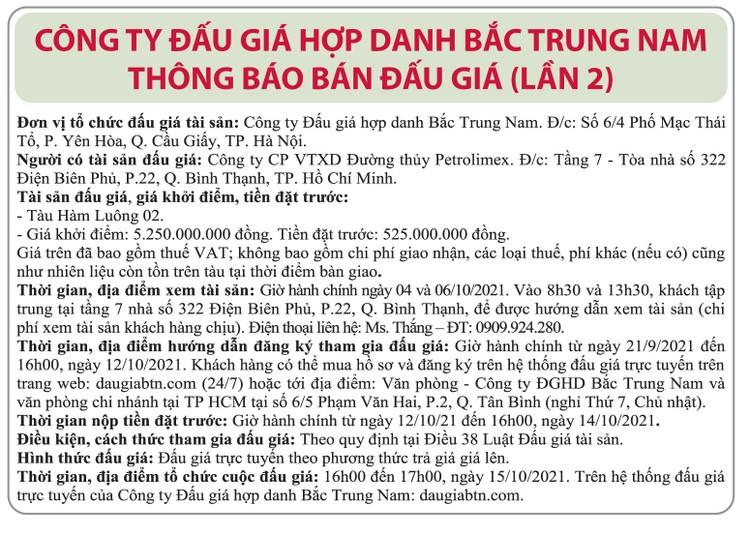Ngày 15/10/2021, đấu giá tàu Hàm Luông 02 tại TP.HCM ảnh 1