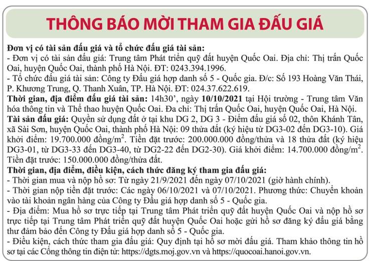Ngày 10/10/2021, đấu giá quyền sử dụng đất tại huyện Quốc Oai, Hà Nội ảnh 1