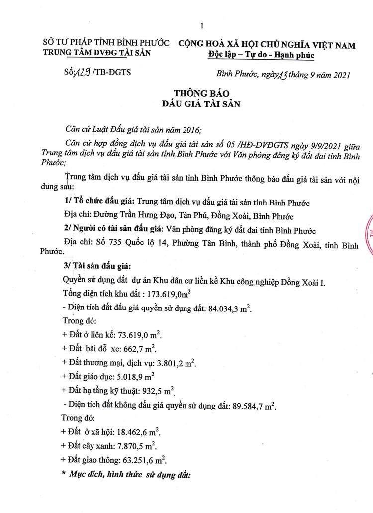 Ngày 8/10/2021, đấu giá quyền sử dụng 84.034,3 m2 đất tại Khu công nghiệp Đồng Xoài I, tỉnh Bình Phước ảnh 2