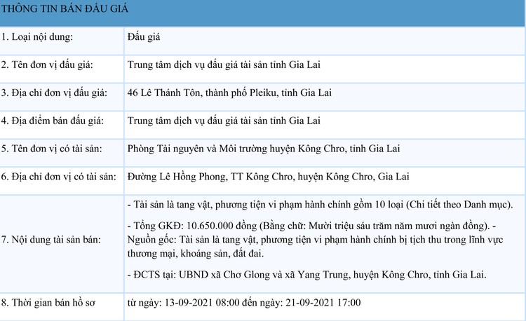 Ngày 24/9/2021, đấu giá tang vật, phương tiện vi phạm hành chính tại tỉnh Gia Lai ảnh 1