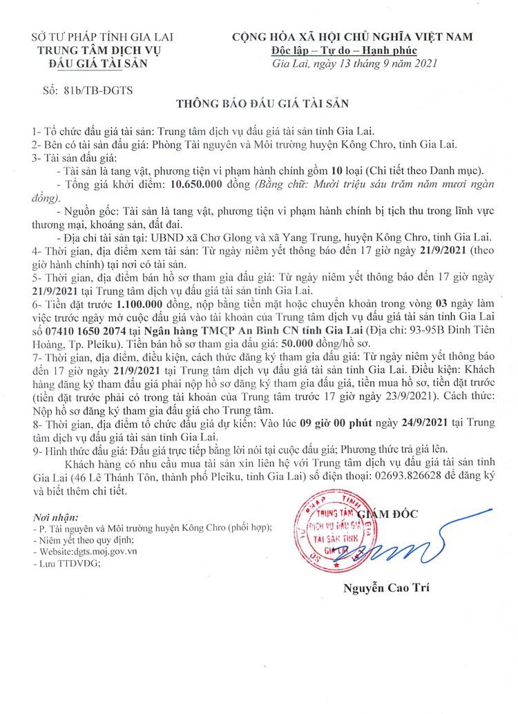 Ngày 24/9/2021, đấu giá tang vật, phương tiện vi phạm hành chính tại tỉnh Gia Lai ảnh 3