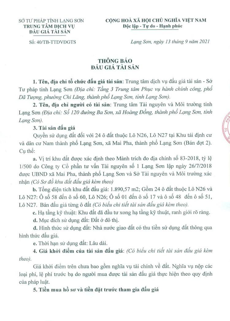 Ngày 5/10/2021, đấu giá quyền sử dụng 24 ô đất tại thành phố Lạng Sơn, tỉnh Lạng Sơn ảnh 2