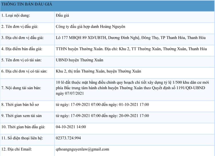 Ngày 4/10/2021, đấu giá quyền sử dụng 10 lô đất tại huyện Thường Xuân, tỉnh Thanh Hóa ảnh 1