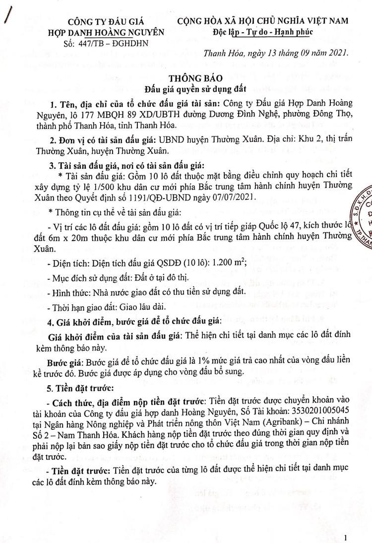 Ngày 4/10/2021, đấu giá quyền sử dụng 10 lô đất tại huyện Thường Xuân, tỉnh Thanh Hóa ảnh 2