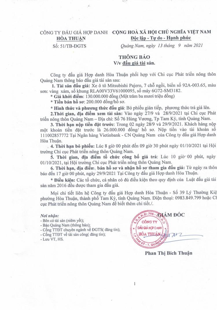 Ngày 1/10/2021, đấu giá xe ô tô Mitsubishi Pajero tại tỉnh Quảng Nam ảnh 2