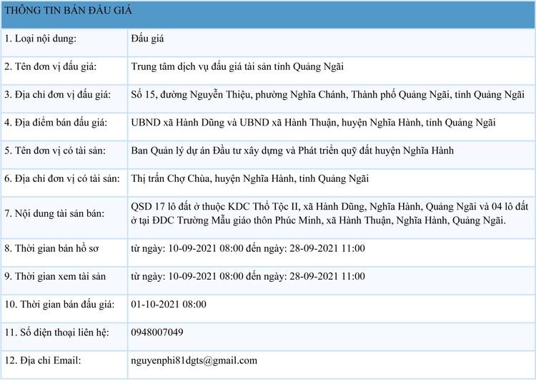 Ngày 1/10/2021, đấu giá quyền sử dụng 17 lô đất tại huyện Nghĩa Hành, tỉnh Quảng Ngãi ảnh 1