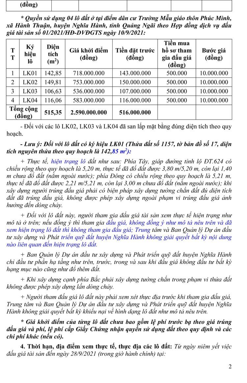 Ngày 1/10/2021, đấu giá quyền sử dụng 17 lô đất tại huyện Nghĩa Hành, tỉnh Quảng Ngãi ảnh 3