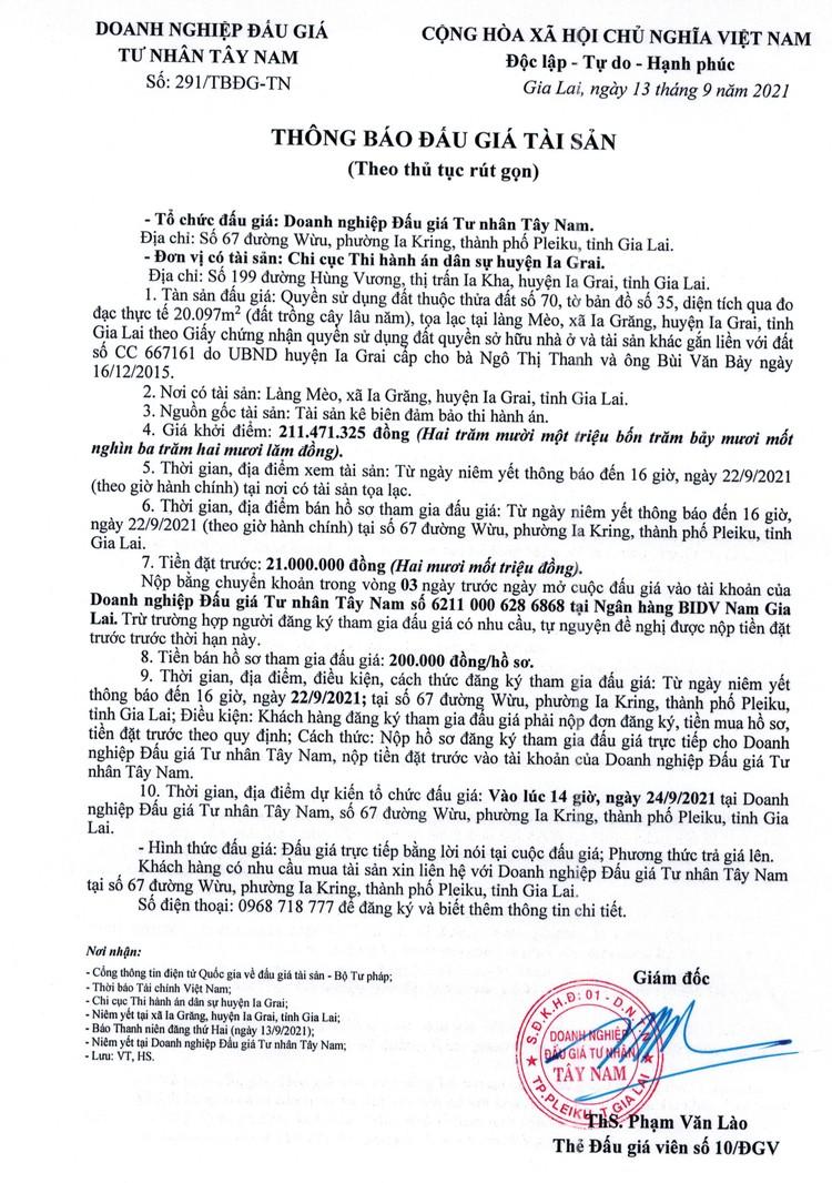 Ngày 24/9/2021, đấu giá quyền sử dụng đất tại huyện Ia Grai, tỉnh Gia Lai ảnh 2