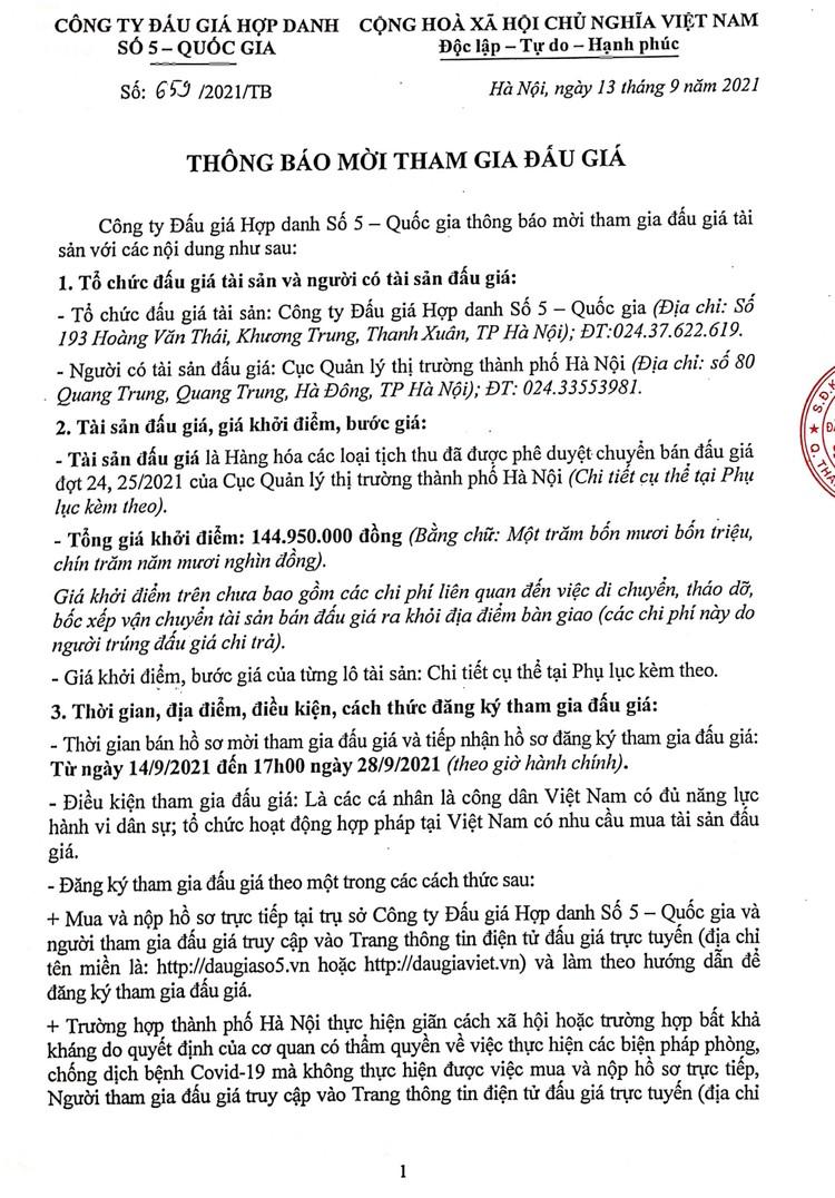 Ngày 30/9/2021, đấu giá hàng hóa các loại bị tịch thu tại Hà Nội ảnh 3