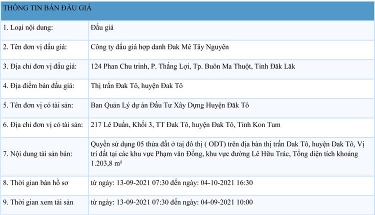 Ngày 7/10/2021, đấu giá quyền sử dụng 05 thửa đất tại huyện Đăk Tô, tỉnh Kon Tum ảnh 1