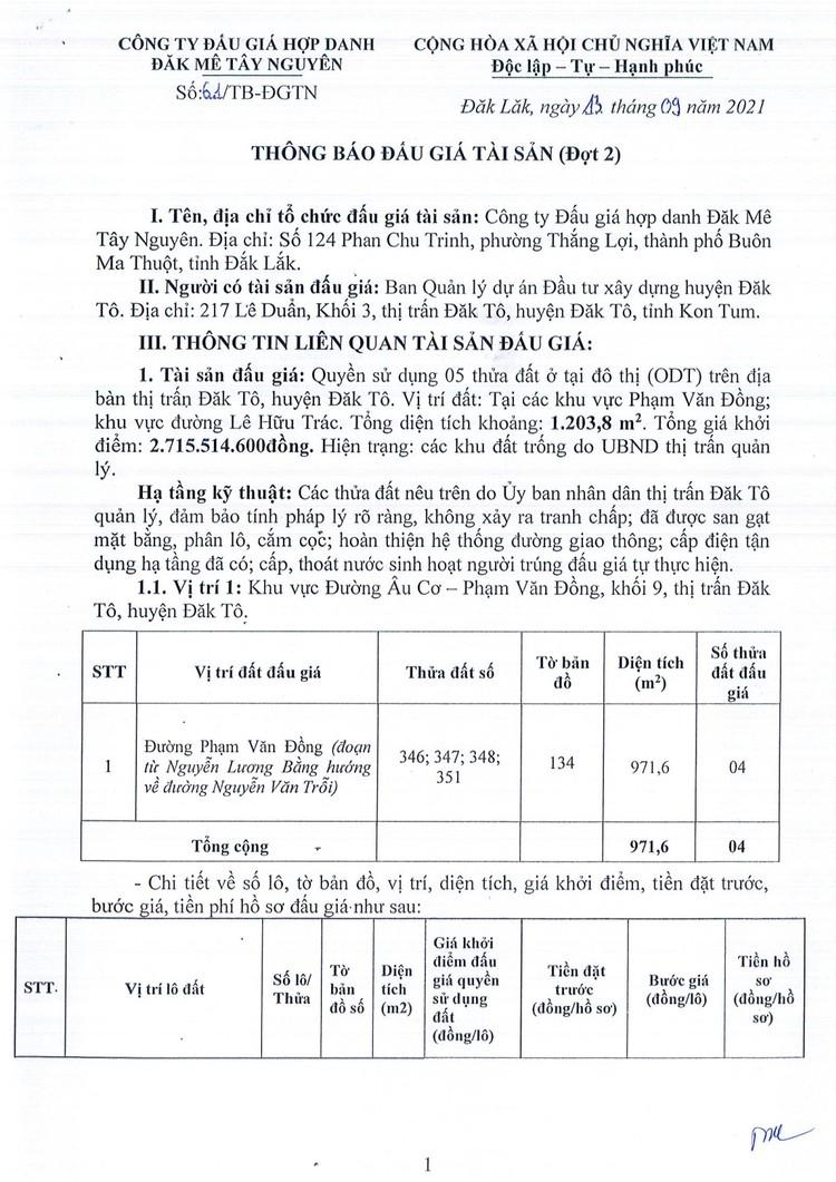Ngày 7/10/2021, đấu giá quyền sử dụng 05 thửa đất tại huyện Đăk Tô, tỉnh Kon Tum ảnh 3