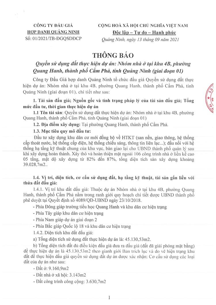 Ngày 7/10/2021, đấu giá quyền sử dụng đất tại thành phố Cẩm Phả, tỉnh Quảng Ninh ảnh 3