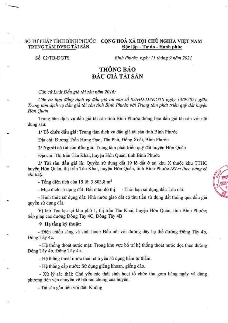 Ngày 25/10/2021, đấu giá quyền sử dụng 19 lô đất tại huyện Hớn Quản, tỉnh Bình Phước ảnh 2