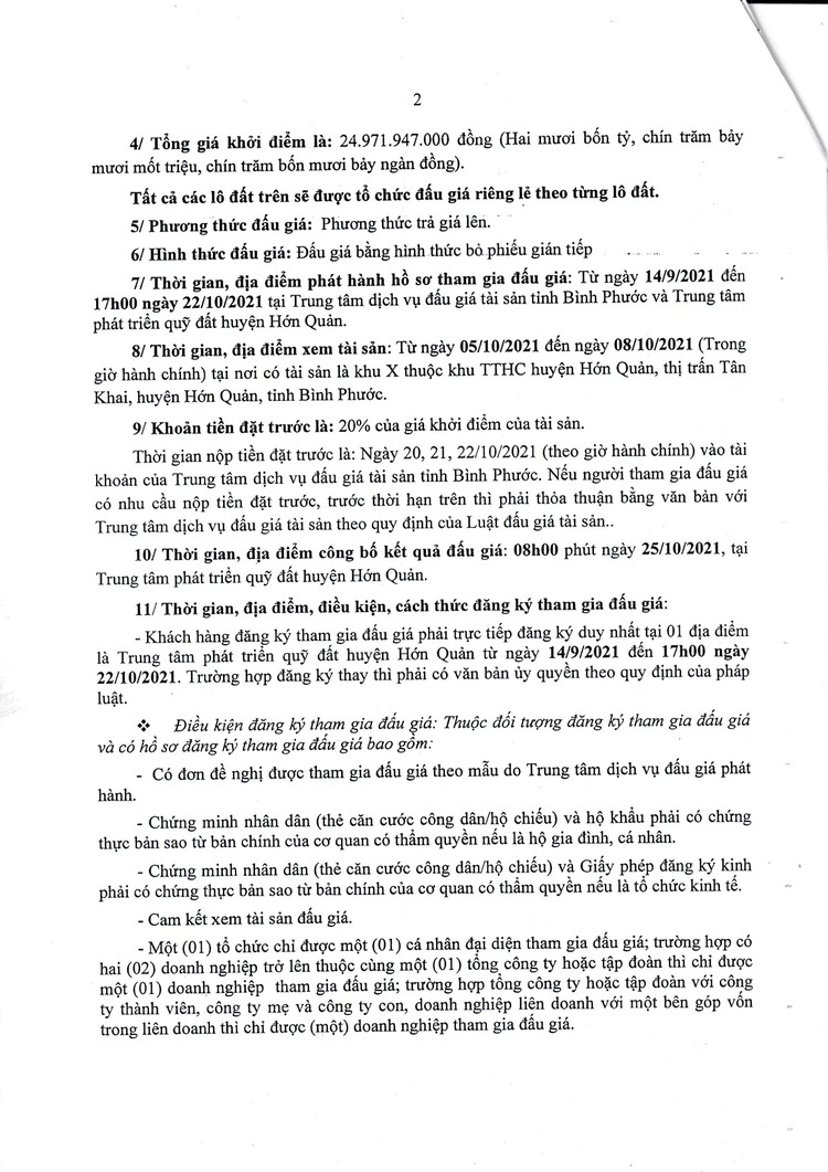 Ngày 25/10/2021, đấu giá quyền sử dụng 19 lô đất tại huyện Hớn Quản, tỉnh Bình Phước ảnh 3