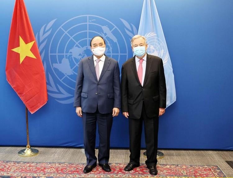 Chủ tịch nước Nguyễn Xuân Phúc hội kiến với Chủ tịch và Tổng thư ký Liên Hợp Quốc ảnh 1