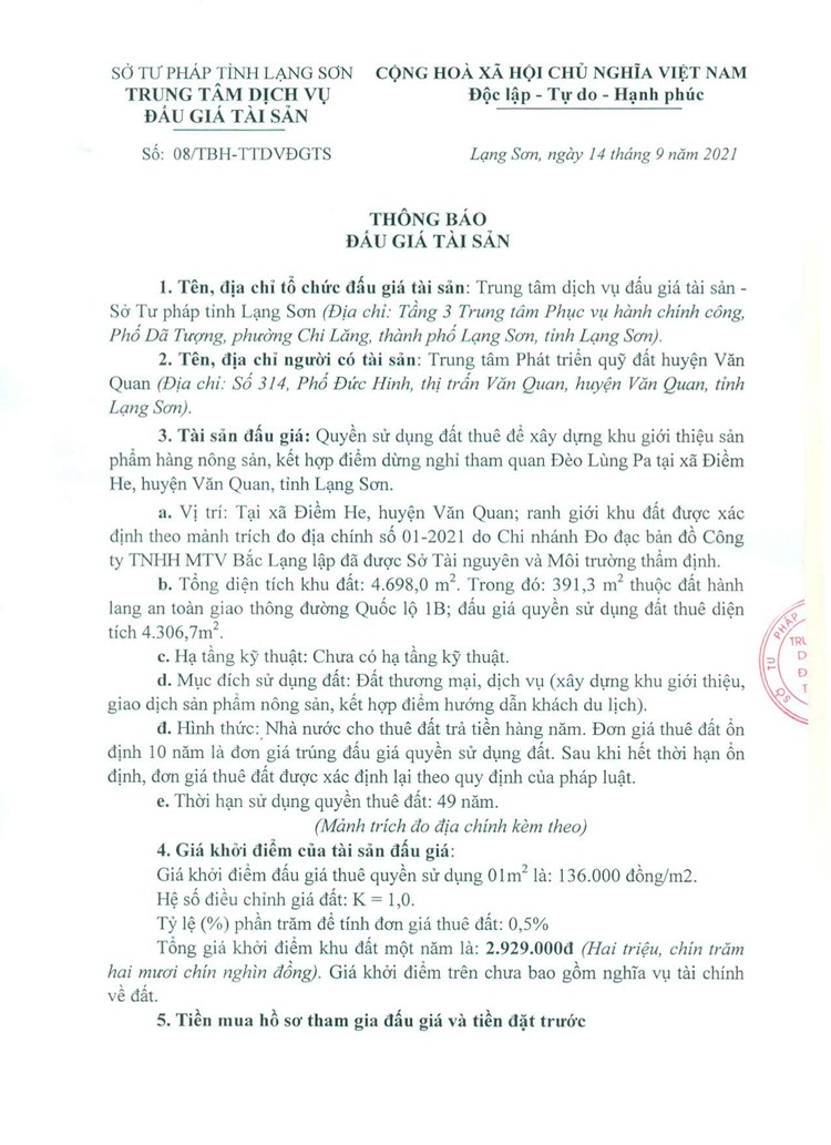 Ngày 14/10/2021, đấu giá quyền sử dụng đất tại huyện Văn Quan, tỉnh Lạng Sơn ảnh 3