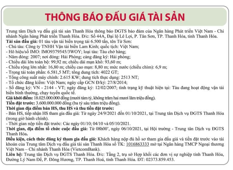 Ngày 6/10/2021, đấu giá 01 tàu vận tải biển tại tỉnh Thanh Hóa ảnh 1