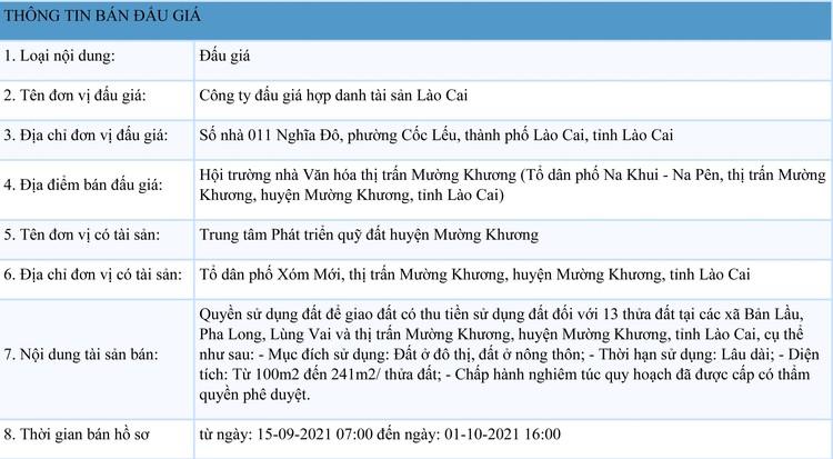 Ngày 6/10/2021, đấu giá quyền sử dụng đất tại huyện Mường Khương, tỉnh Lào Cai ảnh 1