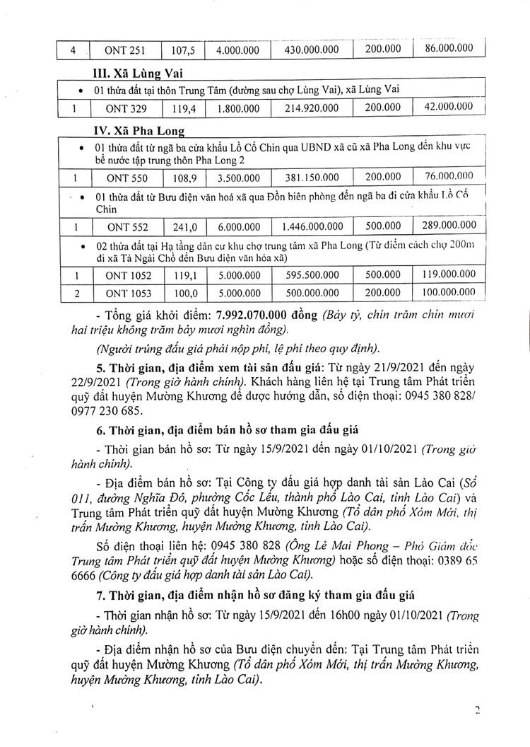 Ngày 6/10/2021, đấu giá quyền sử dụng đất tại huyện Mường Khương, tỉnh Lào Cai ảnh 4