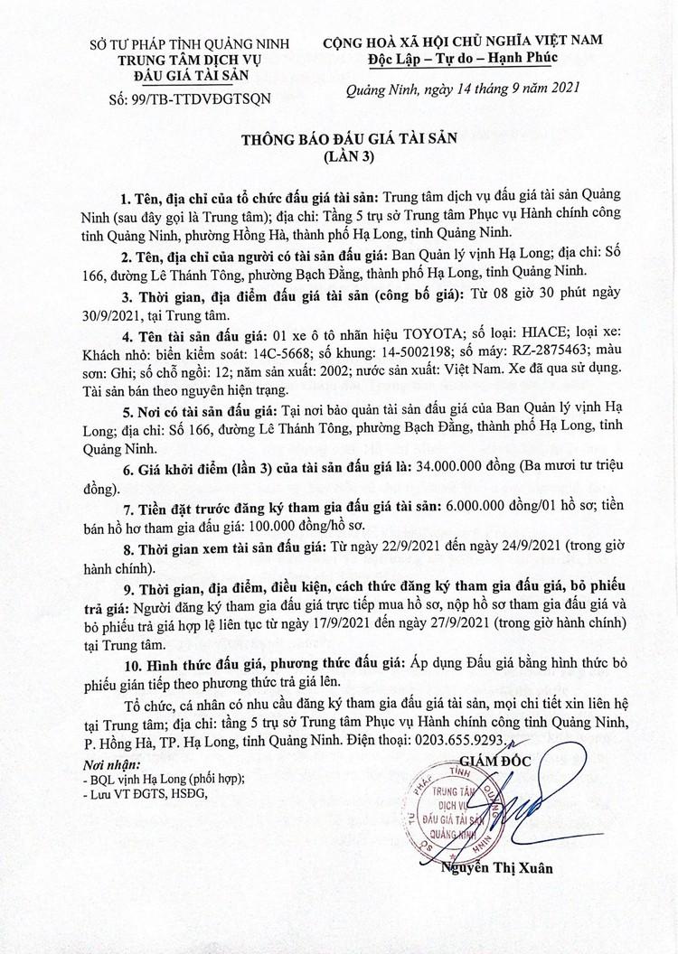 Ngày 30/9/2021, đấu giá xe ô tô TOYOTA tại tỉnh Quảng Ninh ảnh 3