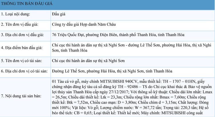 Ngày 25/9/2021, đấu giá 01 tàu cá vỏ gỗ tại tỉnh Thanh Hóa ảnh 1