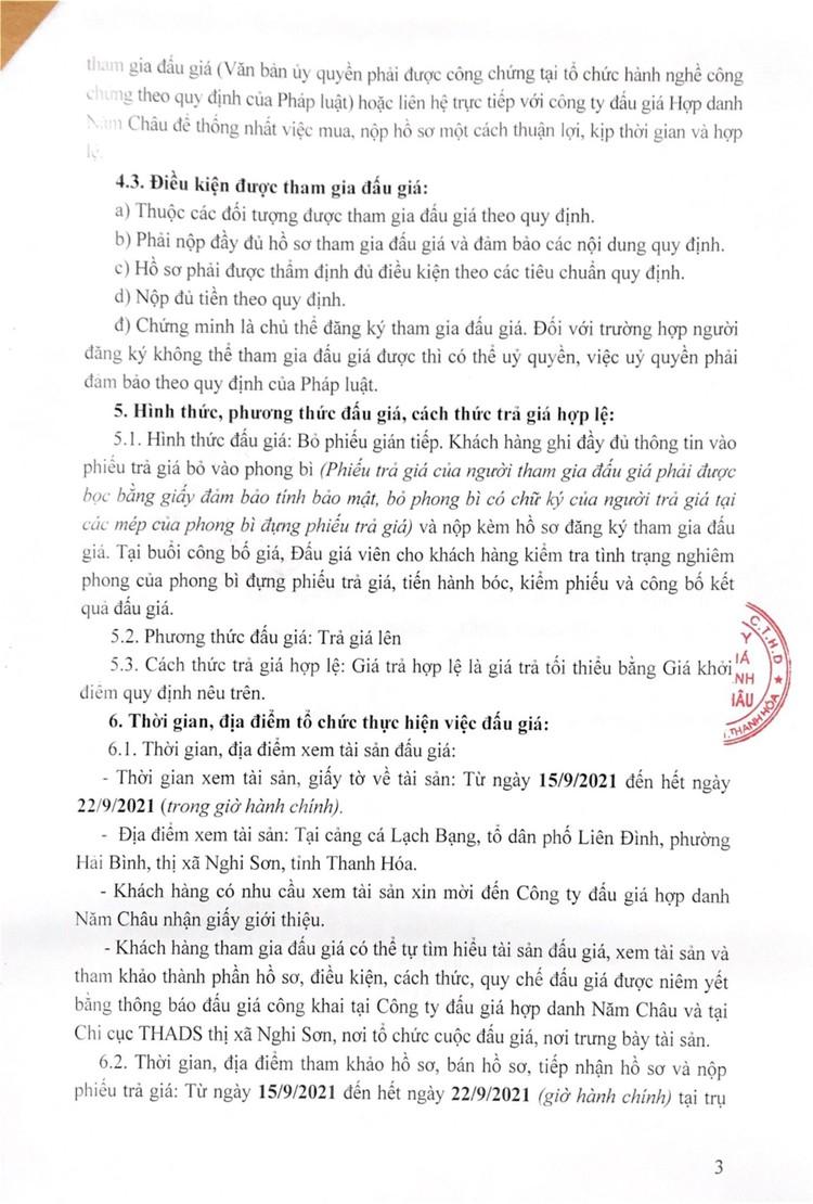Ngày 25/9/2021, đấu giá 01 tàu cá vỏ gỗ tại tỉnh Thanh Hóa ảnh 5
