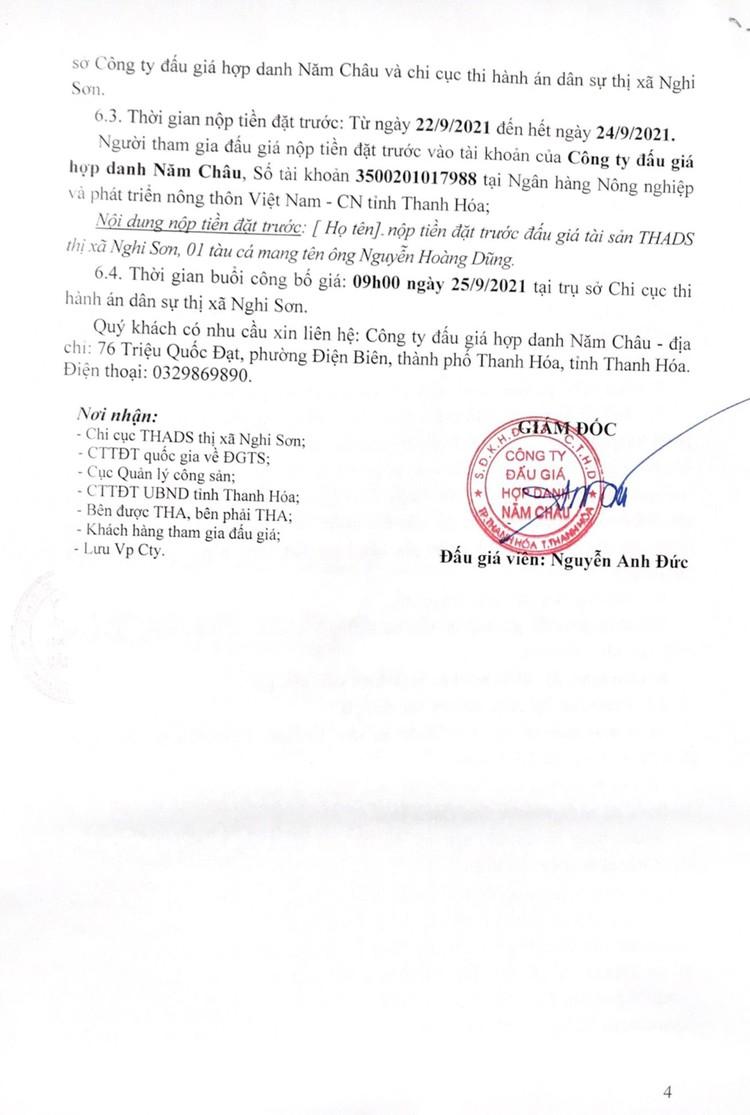 Ngày 25/9/2021, đấu giá 01 tàu cá vỏ gỗ tại tỉnh Thanh Hóa ảnh 6