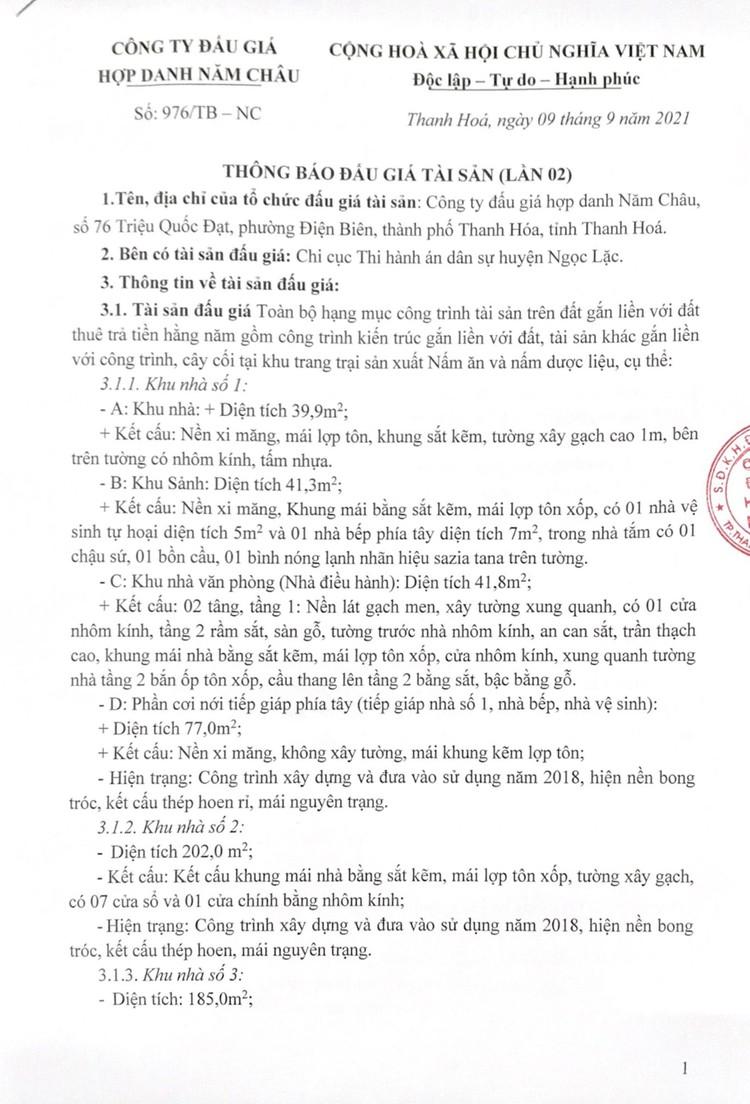 Ngày 1/10/2021, đấu giá toàn bộ hạng mục công trình tài sản trên đất tại tỉnh Thanh Hóa ảnh 3