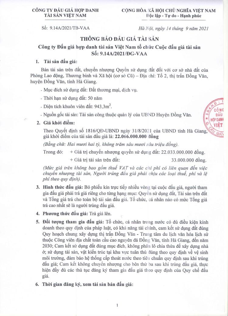 Ngày 4/10/2021, đấu giá quyền sử dụng 943,3 m2 đất tại huyện Đồng Văn, tỉnh Hà Giang ảnh 2