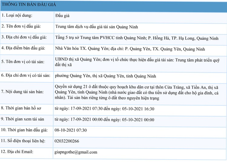 Ngày 8/10/2021, đấu giá quyền sử dụng 21 ô đất tại thị xã Quảng Yên, tỉnh Quảng Ninh ảnh 1