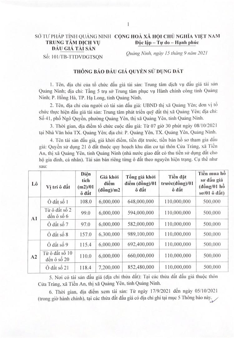Ngày 8/10/2021, đấu giá quyền sử dụng 21 ô đất tại thị xã Quảng Yên, tỉnh Quảng Ninh ảnh 2