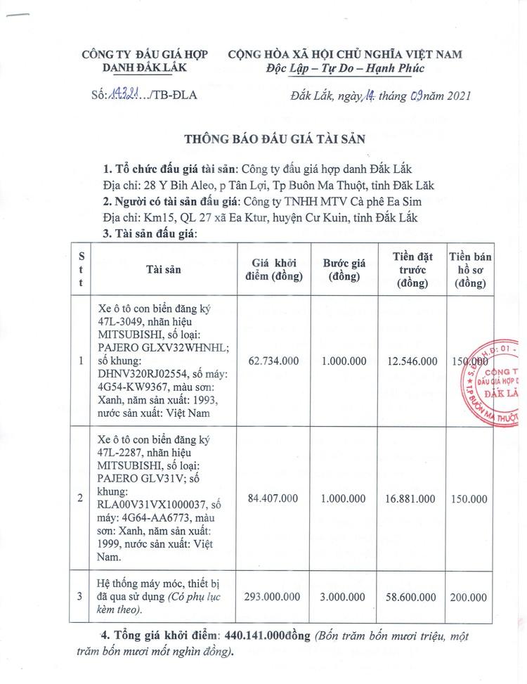Ngày 30/9/2021, đấu giá 2 xe ô tô con và hệ thống máy móc, thiết bị đã qua sử dụng tại tỉnh Đắk Lắk ảnh 2