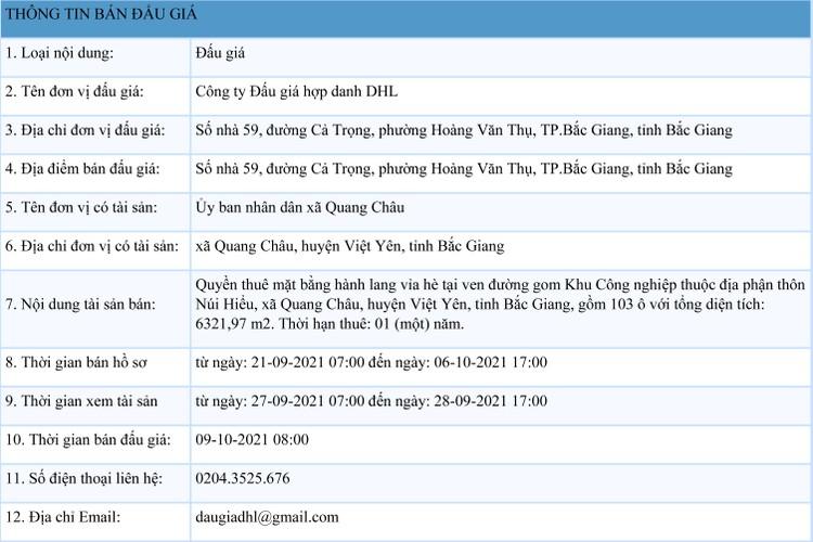 Ngày 9/10/2021, đấu giá quyền thuê mặt bằng hành lang vỉa hè tại ven đường gom Khu Công nghiệp tại huyện Việt Yên, tỉnh Bắc Giang ảnh 1