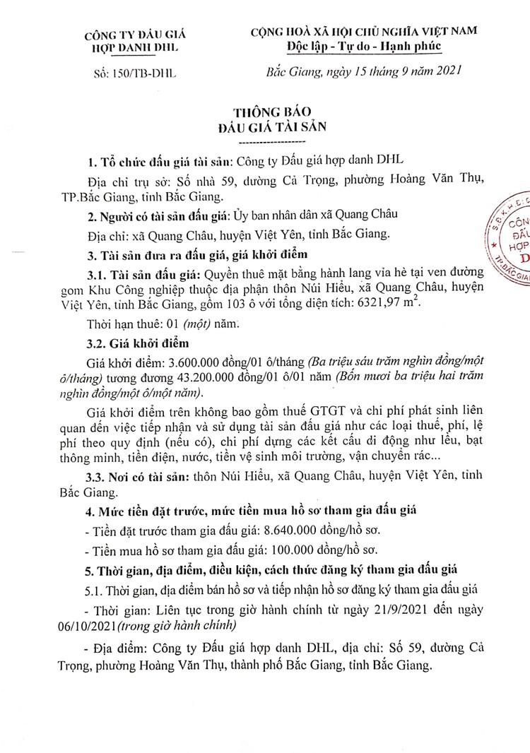Ngày 9/10/2021, đấu giá quyền thuê mặt bằng hành lang vỉa hè tại ven đường gom Khu Công nghiệp tại huyện Việt Yên, tỉnh Bắc Giang ảnh 2
