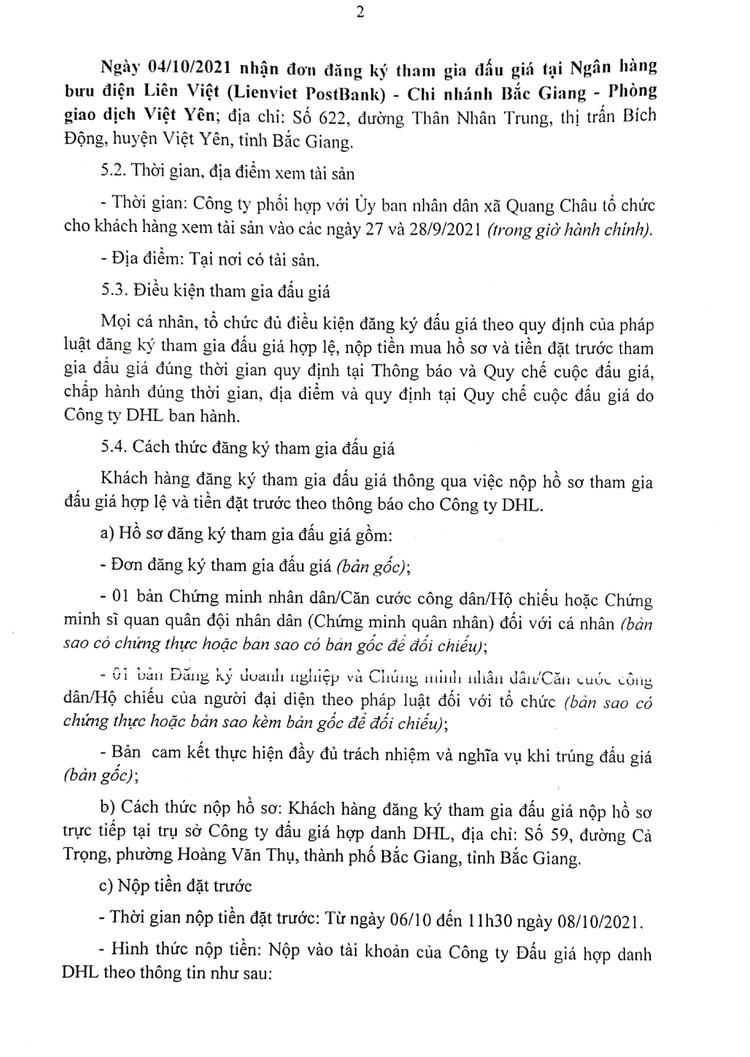Ngày 9/10/2021, đấu giá quyền thuê mặt bằng hành lang vỉa hè tại ven đường gom Khu Công nghiệp tại huyện Việt Yên, tỉnh Bắc Giang ảnh 3