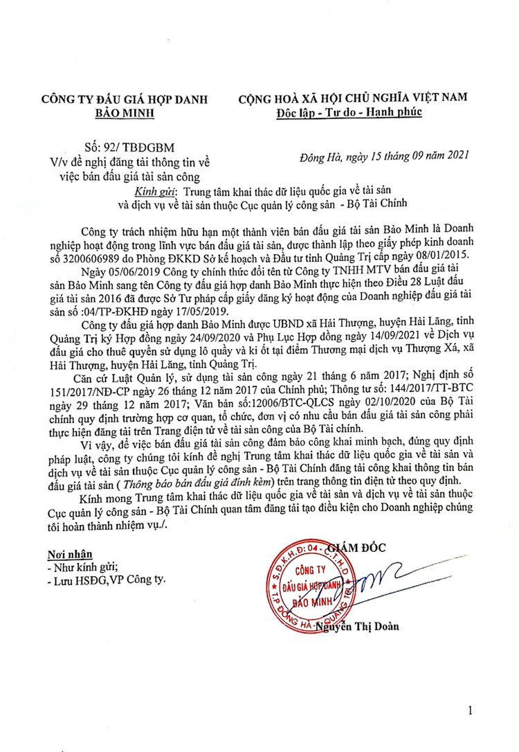 Ngày 9/10/2021, đấu giá cho thuê quyền sử dụng lô quầy và ki ốt tại điểm Thương mại dịch vụ Thượng Xá, tỉnh Quảng Trị ảnh 2