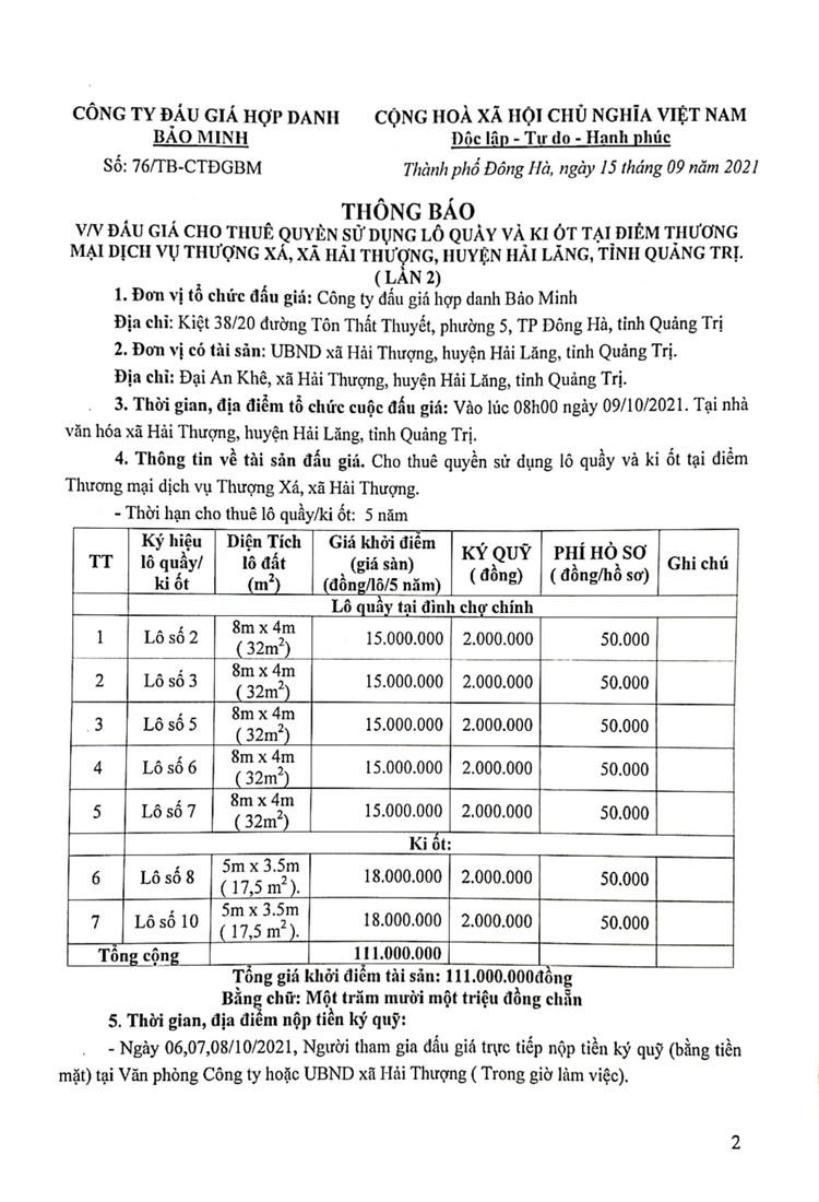 Ngày 9/10/2021, đấu giá cho thuê quyền sử dụng lô quầy và ki ốt tại điểm Thương mại dịch vụ Thượng Xá, tỉnh Quảng Trị ảnh 3